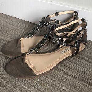 Zara T-Strap Gemstone Sandals